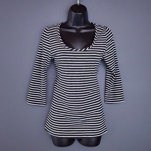 NWT REITMANS Striped Top T-Shirt 3/4 Sleeve Fitted Stretch Black White Size XS